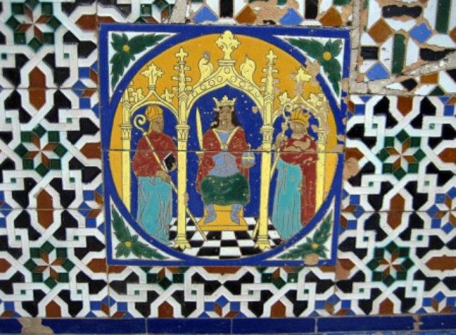 Azulejo sevillano. Como puede apreciarse, el dibujo está formado por losas conteniendo fragmentos de la imagen total. Es la misma técnica de mosaico, solo que... ¿lo es?